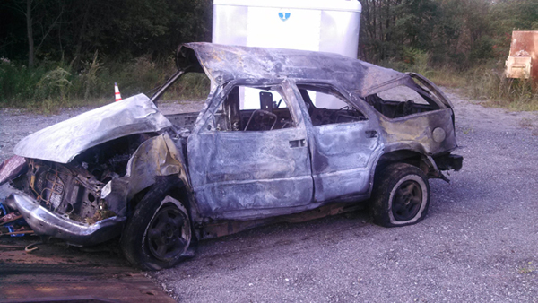 Remains of a vehicle involved in a fiery crash in Windsor Wednesday morning. Kennebec County Sheriff's Office is asking anyone with information about the crash to call Deputy Jeremy Day at 623-3614 ext. 1803.