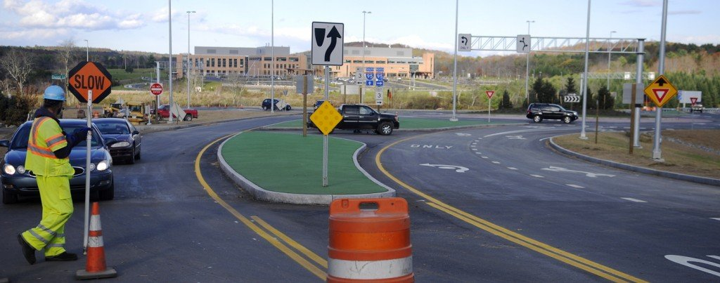 ROUND: The new traffic roundabouts on either side of Interstate 95 in Augusta opened Monday.
