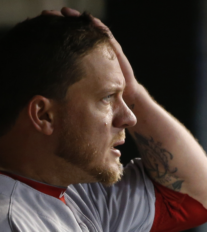 No smiles for Jake Peavy, not Wednesday night. By the bottom of the fourth inning he was out of the game, sitting in the dugout and watching the remainder of Boston's 7-3 loss to the Detroit Tigers in Game 4.