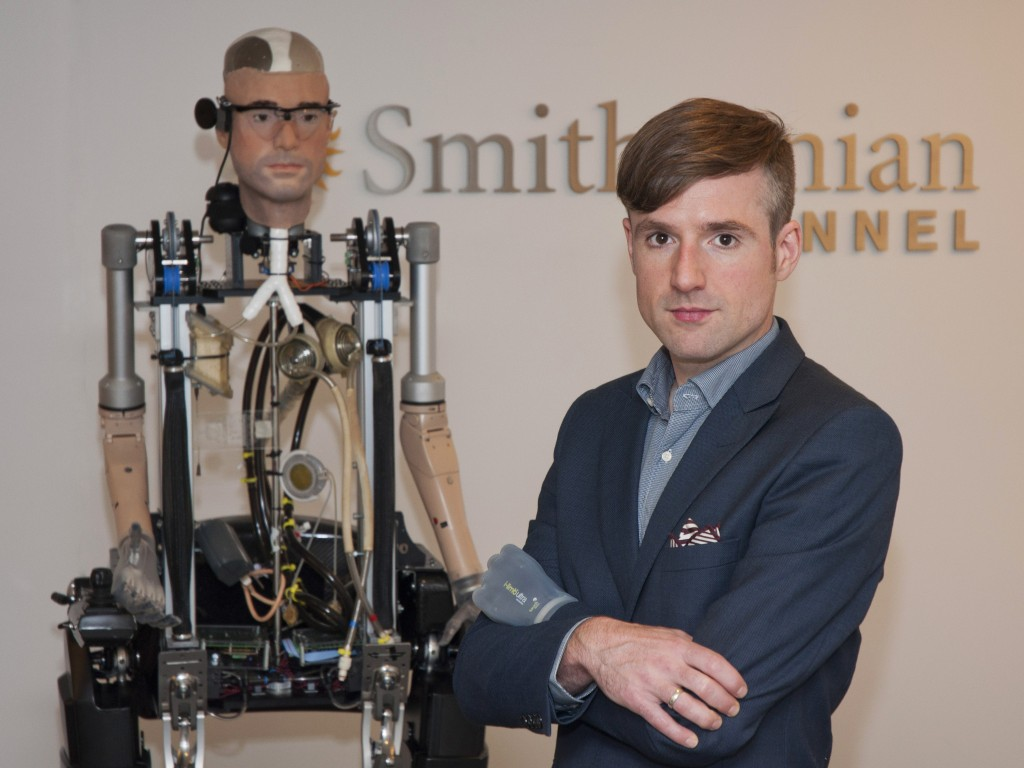 "Bertolt Meyer, a 36-year-old social psychologist at the University of Zurich who was born without a lower left arm, served as a model for an advanced artificial man, which will be featured in a Smithsonian Channel original documentary, ""The Incredible Bionic Man."" The program airs at 9 p.m. Oct. 20."