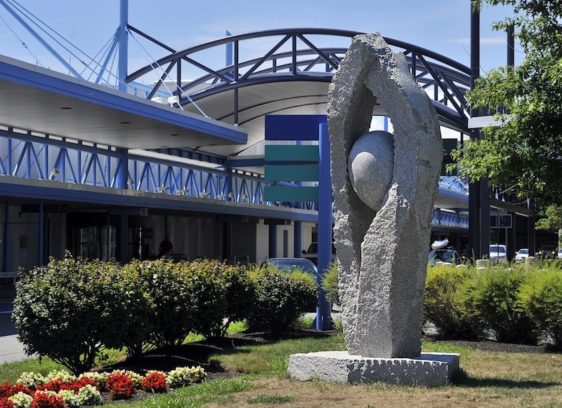 This August 2013 file photo shows a sculpture at the Portland Jetport named Tidal Moon, created by Jesse Salisbury. Salisbury will host a workshop at the Maine International Conference on the Arts in Orono, which runs from Oct. 24-26.