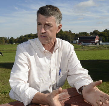 Warren Knight. president of Smiling Hill Farm, talks about his arrest Saturday near the neighboring quarry, where Pike Industries was due to resume blasting.