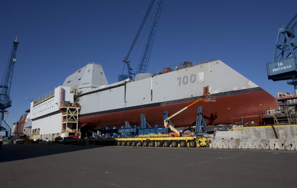 The first-in-class Zumwalt, the largest U.S. Navy destroyer ever built, is seen at Bath Iron Works. The christening of the Zumwalt was canceled once because of the government shutdown, but plans call for the ship to be moved to dry dock and floated without fanfare in the coming days.