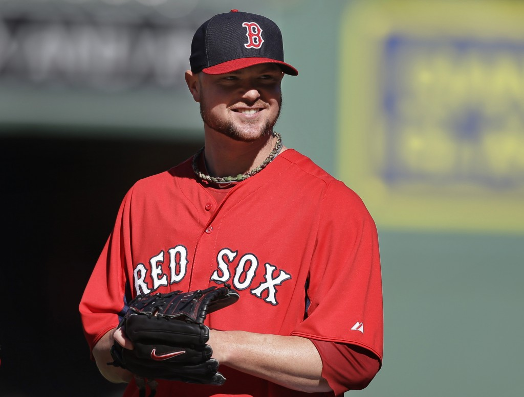 Boston Red Sox pitcher Jon Lester smiles during a team workout Tuesday, Oct. 1, 2013, at Fenway Park in Boston.
