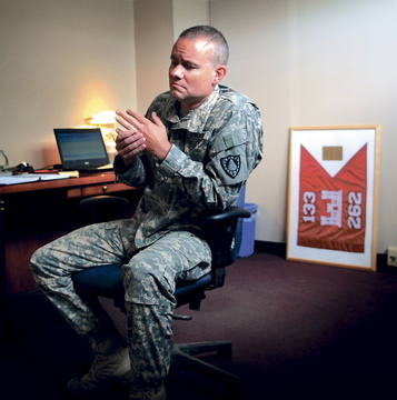 Maine Army National Guard Maj. Scott Lewis is shown in August before leaving for a second tour in Afghanistan.