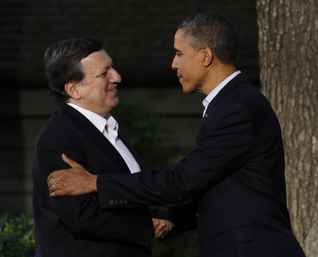 President Obama greets the president of the European Commission, Jose Manuel Barroso, last year.