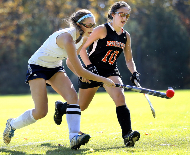 Katie Berry of Westbrook tries to control the ball in front of Jessica Laverriere of Biddeford. Westbrook won 1-0 and will meet Massabesic in the quarterfinals Wednesday.