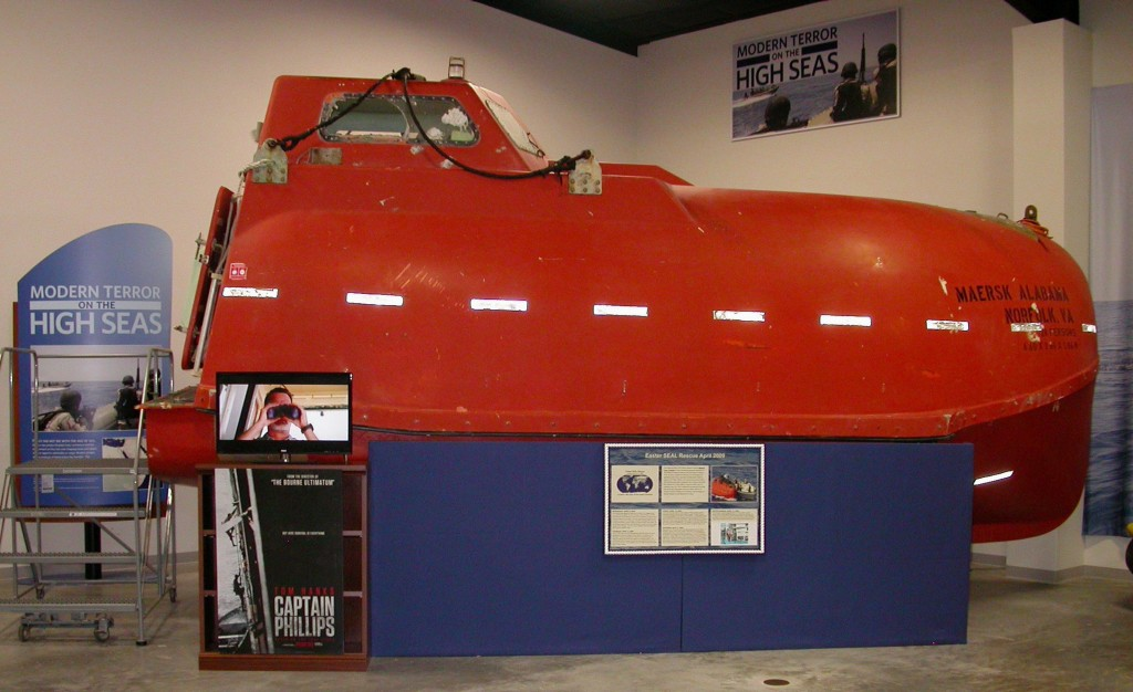 The Maersk Alabama cargo ship lifeboat is seen on display at the National Navy SEAL Museum in Fort Pierce, Fla., recently. The Maersk Alabama vessel was seized by Somali pirates off the coast of Somalia on April 12, 2009. The pirates captured Captain Richard Phillips and they fled together on the lifeboat.