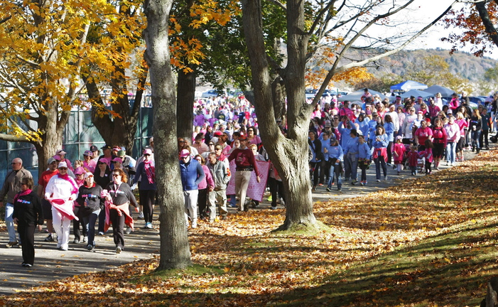 Breast cancer survivors, family and friends join the American Cancer Society walk to support the fight against breast cancer Sunday at Fort Williams Park in Cape Elizabeth.
