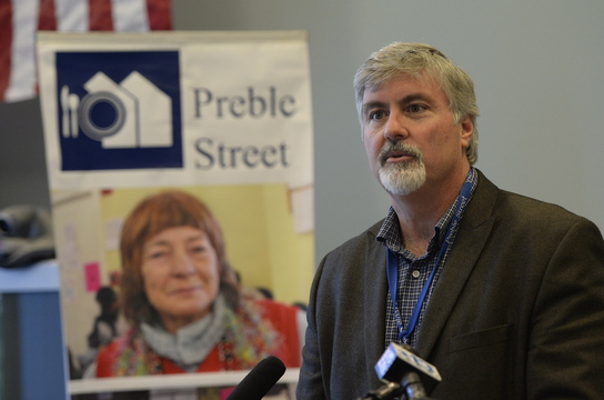"Mark Swann, executive director of Preble Street: ""We started hearing from our clients, mostly young women and girls, about horrific events in their lives, stories of being lured and coerced into prostitution, having no choice, being forced to trade their bodies for drugs and money."""