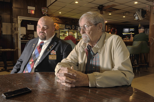 Maine has more veterans per capita than most states and well as one of the highest percentage's of people over age 65 and relying at least in part on Social Security benefits. Portland VFW Post 6859 Commander Steve San Pedro (left) and member Norm McLeod, 84, of Portland, discuss their concerns about financial issues should the Congress fail to compromise.