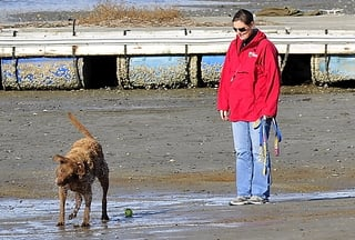 Cynthia Knight walks her dog Monday on Ferry Beach in Scarborough. Unleashed dogs on public beaches would be banned year-round under a law recently passed by the Town Council.