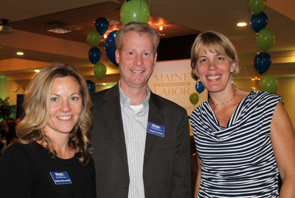 Melissa Marcaurelle of No. 4 ranked Bangor Savings Bank with colleagues Stephan Woods and Megan Clough.