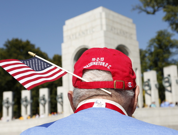 A World War II veteran tours the war memorial in Washington on Oct. 2, during the government shutdown. A veteran from Gorham who visited Sept. 28 writes that he had a memorable time, thanks to volunteers and many others.