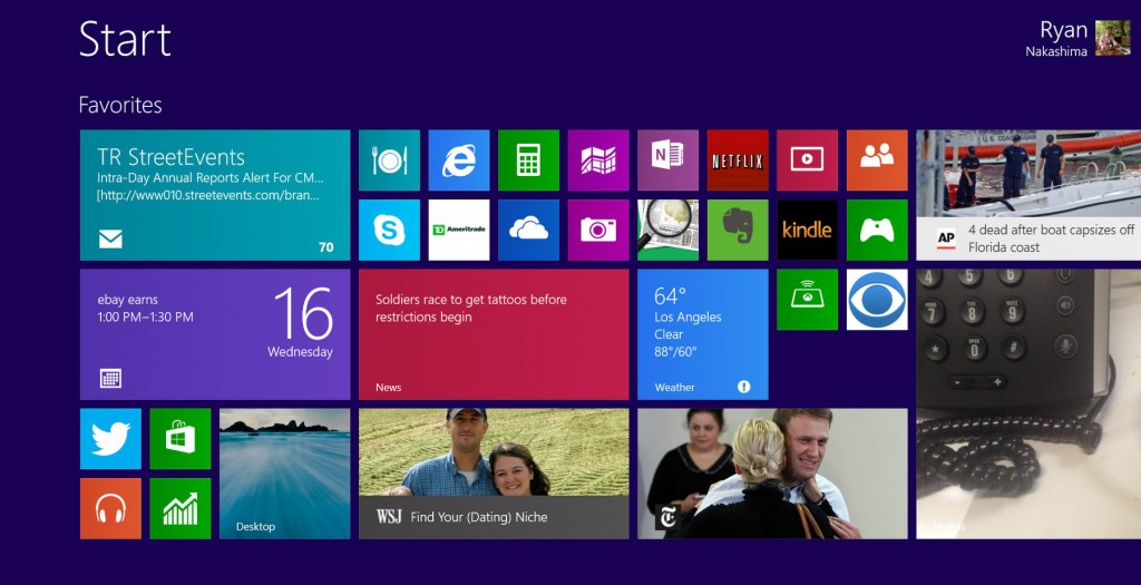 This image shows a version of Windows 8.1 on a tablets, as Microsoft seeks to address gripes with Windows 8.
