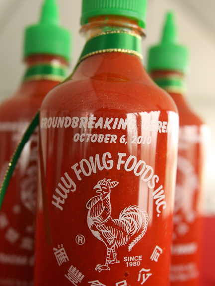 Bottles of Huy Fong Foods Inc.'s Sriracha chili sauce