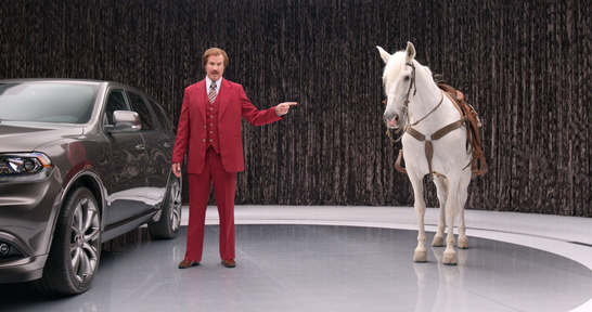 Ron Burgundy, played by actor Will Farrell, appears in a new 2014 Dodge Durango advertising campaign.