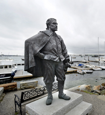 This statue of George Cleeve, one of Portland's founders, stands on private property at Portland Yacht Services. A writer suggests that decisions about public art should be based on fact instead of rumor.