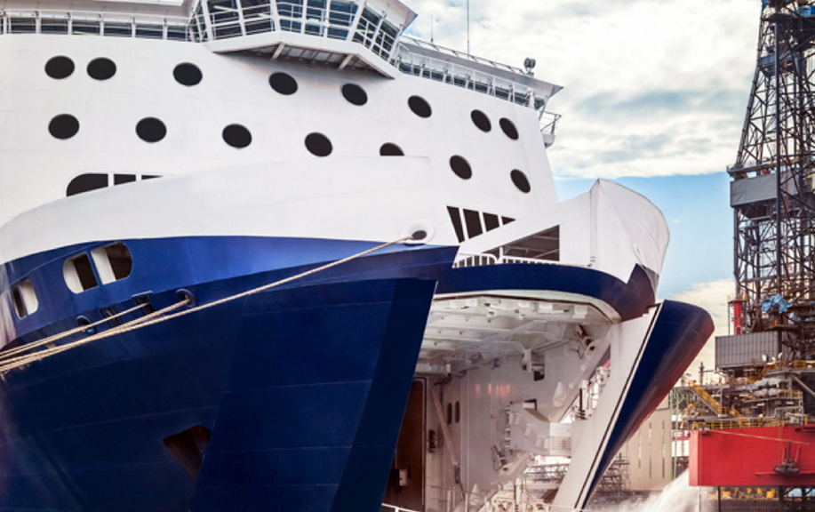 The bow of the Nova Star, the ferry that STM Quest Inc. wants to use for the trip between Portland and Yarmouth, Nova Scotia.