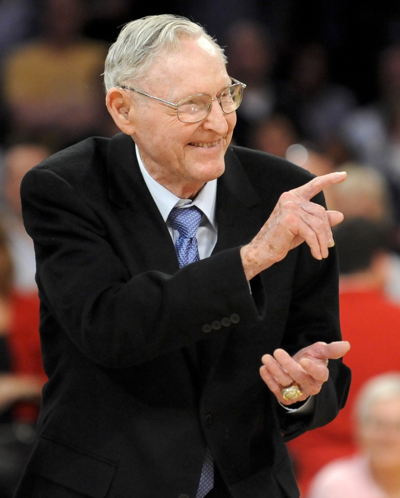 Coach Bill Sharman gestures as he is honored on April 6, 2012, along with other members of the 1974 Los Angeles Lakers championship team.