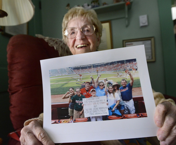 Marge Lee of South Berwick is an avid Red Sox fan and attended her first game last summer. The photo, taken after the game, shows Marge surrounded by members of her family and holding a sign she made addressing NESN announcers Jerry Remy and Don Orsillo.