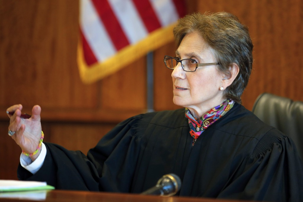 Judge Susan Garsh speaks during a pretrial court hearing for former New England Patriots player Aaron Hernandez in Fall River, Mass. on Wednesday.
