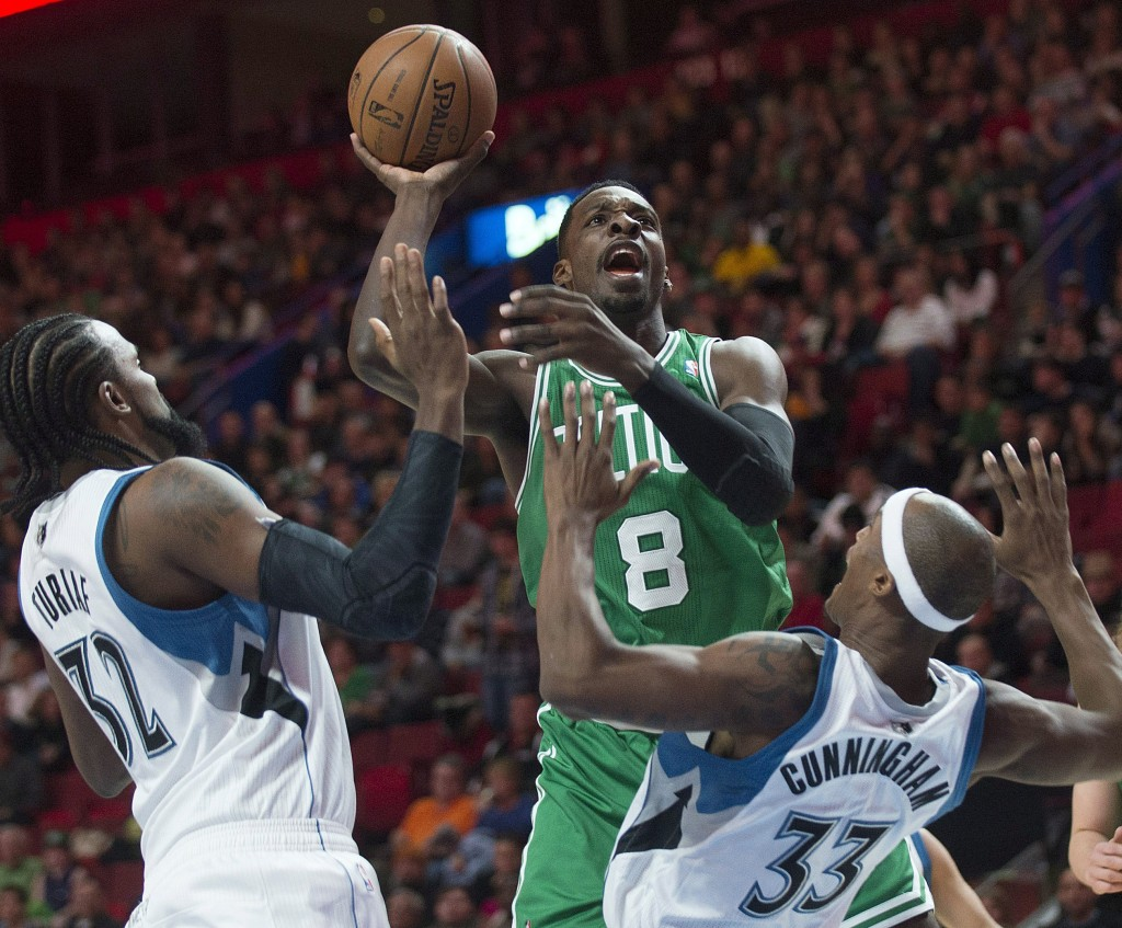 "With Paul Pierce and Kevin Garnett gone, Jeff Green, center, is one of the candidates who may have to become a go-to guy for Boston. ""I'm going to have to be a leader on this team,"" Green said."