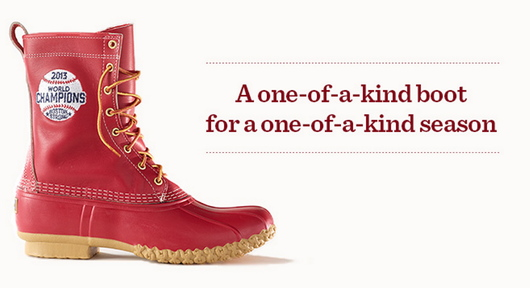 "Image of the Red Sox World Series champions boot, taken from the L.L. Bean blog ""TrailMix."""