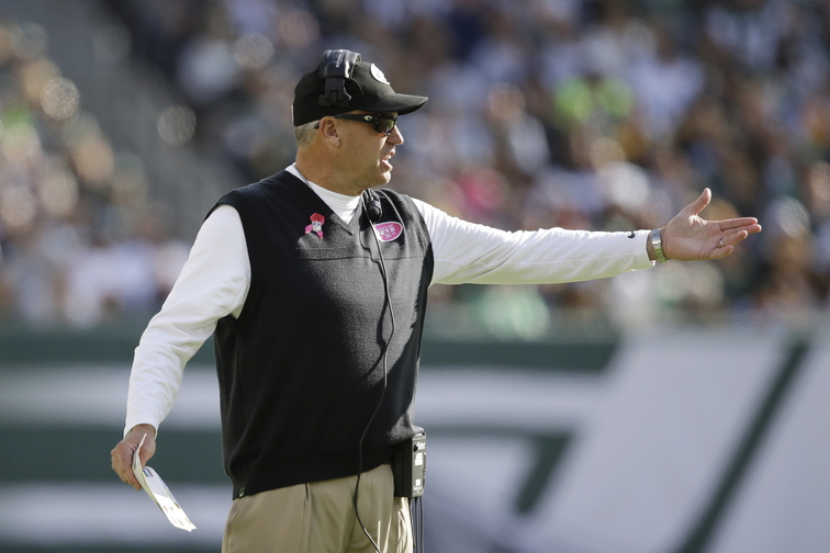 New York Jets head coach Rex Ryan reacts to a call during the second half of an NFL football game against the Pittsburgh Steelers on Sunday in East Rutherford, N.J.