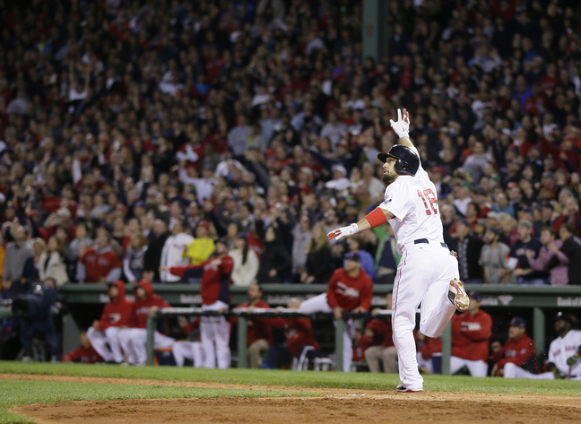 Shane Victorino watches his grand slam in the seventh inning Saturday night that lifted the Red Sox to a 5-2 win over the Tigers and into the World Series for the first time since 2007.