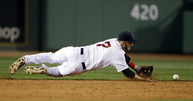 Shane Victorino celebrates his grand slam off Detroit Tigers relief pitcher Jose Veras, rear, as he heads toward home in the seventh inning during Game 6 of the American League baseball championship series on Saturday, Oct. 19, 2013, in Boston. (AP Photo/Matt Slocum)
