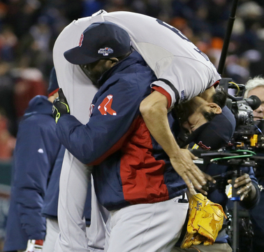 Koji Uehara has helped carry the Boston Red Sox as the closer, and Thursday night David Ortiz carried Uehara after Uehara yet another another save in the 4-3 victory over the Tigers.