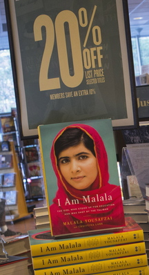 "Copies of ""I Am Malala"", the memoir by Malala Yousafzai, at a book store in Manhattan Oct. 8, 2013. The book hit shelves around the world on Tuesday. Malala Yousafzai, now a world-famous survivor of a Taliban assassination attempt and activist for girls' education, is in contention for the Nobel Peace Prize later this week."