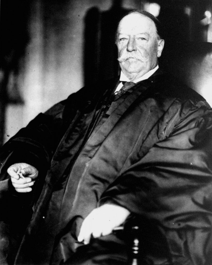Former President and U.S. Supreme Court Chief Justice William Howard Taft is shown in his judicial robes.