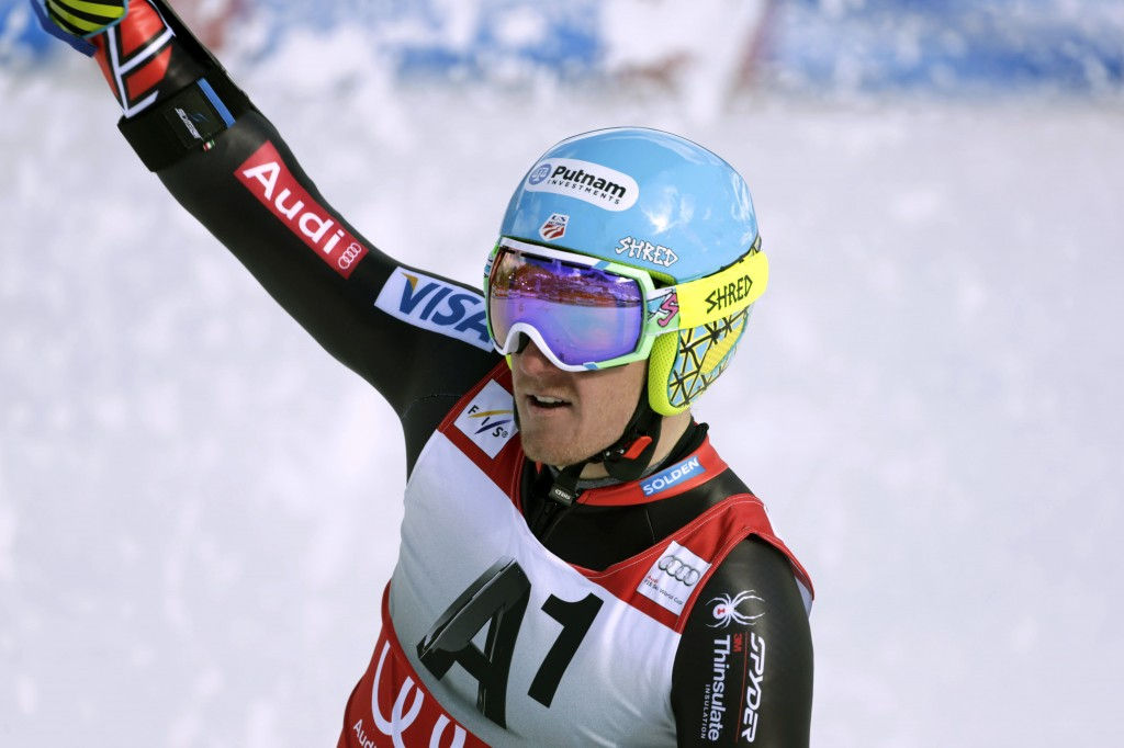 Ted Ligety, of the United States, celebrates after winning the World Cup giant slalom, in Soelden, Austria, on Sunday.