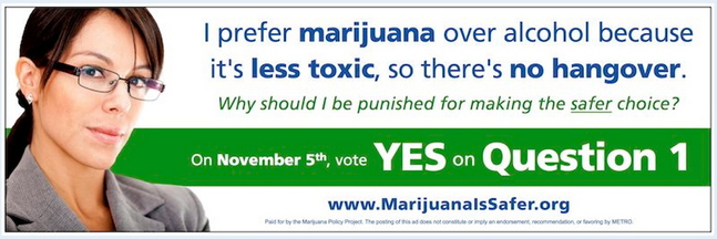 Supporters of Question 1, the ballot initiative to remove penalties for adult marijuana possession in Portland, are launching a series of ads on METRO buses and bus shelters.