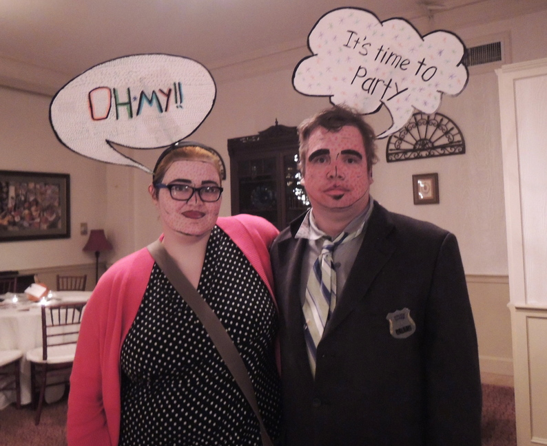 """We're pop art,"" said ""Gumshoe"" Adam Campbell, of Lewiston. His wife, Heather, got the costume idea from Pinterest."