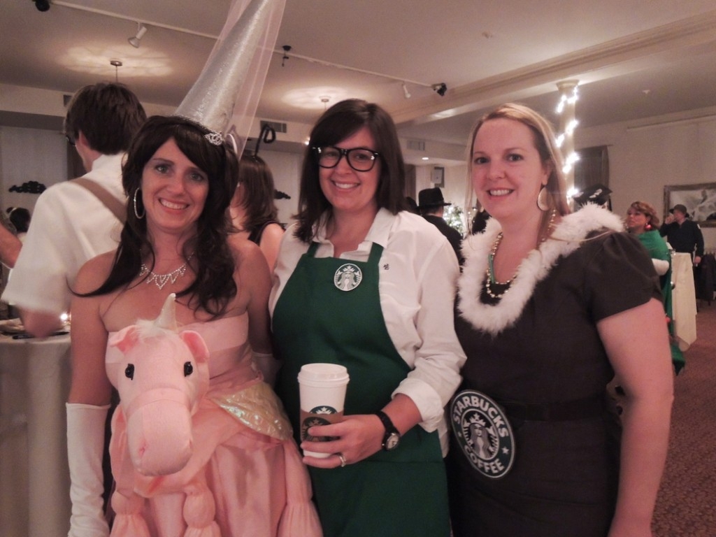 Ondrea Gallivan of Yarmouth, as a pink unicorn, with barista Rhianna Leavitt of Scarborough and latte Liz Smith of South Portland.