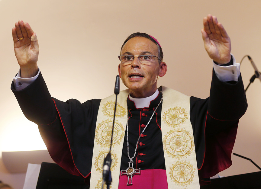 Bishop of Limburg Franz-Peter Tebartz-van Elst is shown in an April photo. Pope Francis temporarily expelled the German bishop from his diocese on Wednesday because of a scandal over a $42 million project to build a new residence complex, but refused popular calls to remove him. The Vatican did not say how long the bishop would be expelled, but said Limburg's newly named vicar general, the Rev. Wolfgang Roesch, would run the diocese in the bishop's absence.