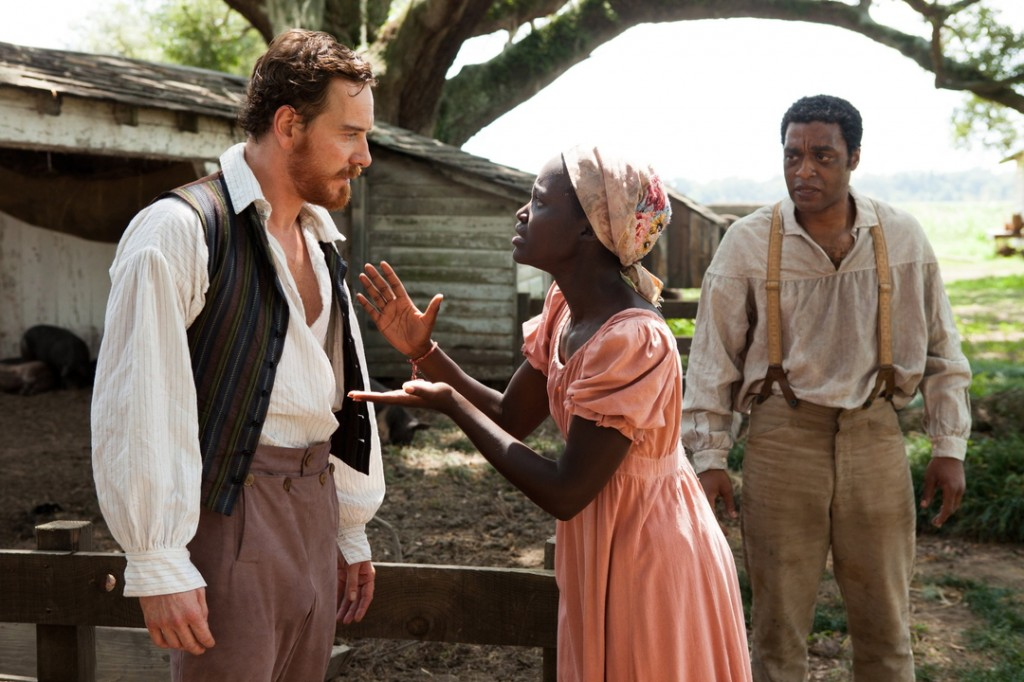 "Michael Fassbender, left, with Lupita Nyong'o and Chiwetel Ejiofor in ""12 Years a Slave."""