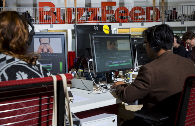 "BuzzFeed staffers edit video in the newsroom of the website's Los Angeles headquarters. ""Video was a huge missing piece,"" CEO Jonah Peretti said. ""We wanted to do for video what we did with other kinds of content."""