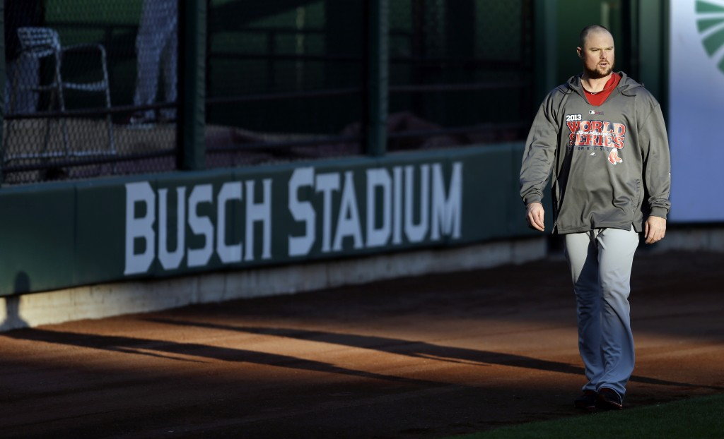 Red Sox pitcher Jon Lester walks in the outfield during practice Friday at Busch Stadium in St. Louis.