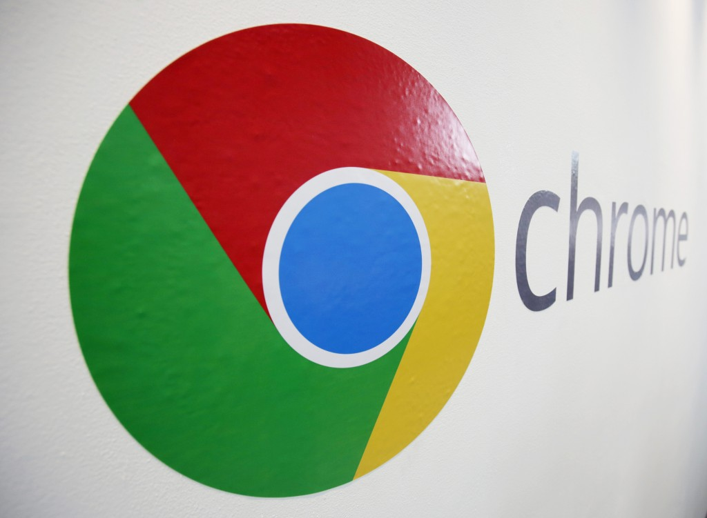 In this Oct. 8 file photo, the Chrome logo is displayed at a Google event in New York.