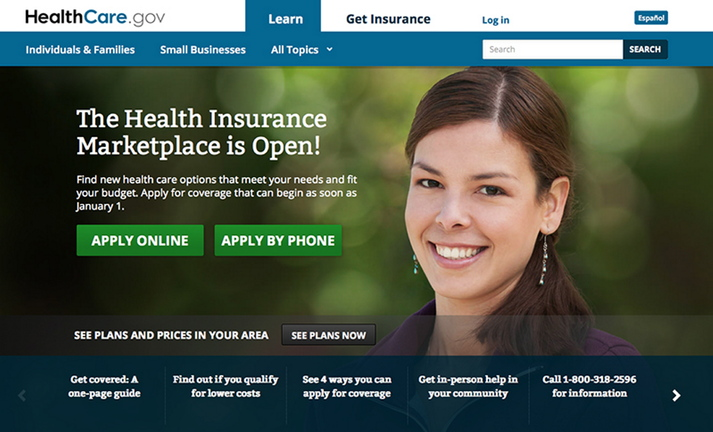 A screen image of the HeatlhCare.gov homepage.