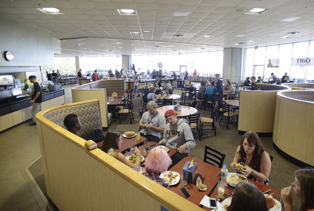 Students dine in the cafeteria Wednesday at the University of Southern Maine in Gorham.