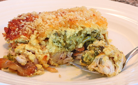 Creamy Curry Chicken Divan is Dana Moos' update of her mom's classic casserole, using roasted chicken and fresh broccoli.