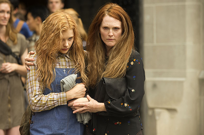 "Chloe Moretz, left, and Julianne Moore in ""Carrie,"" a remake of the 1976 horror film based on the Stephen King novel. MGM Approved"