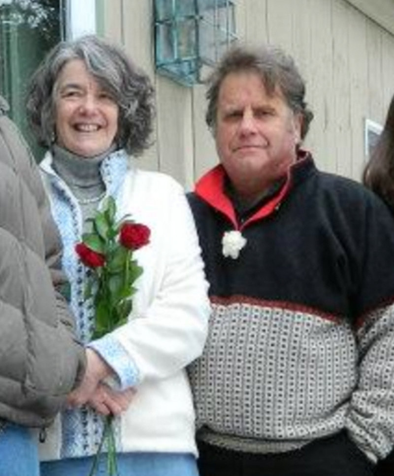 Maggy and Peter Willcox on the day of their wedding, Feb. 23, 2013 on Isleboro. Peter Willcox is currently jailed in Russia after after a protest by last week near an offshore Russiam oil platform was disrupted. He is captain of the his Greenpeace ship, Artctic Sunrise, and is being charged with piracy.