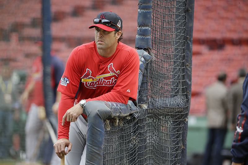 St. Louis Cardinals manager Mike Matheny watches batting practice for Game 1 of baseball's World Series against the Boston Red Sox Tuesday, Oct. 22, 2013, in Boston. MLB