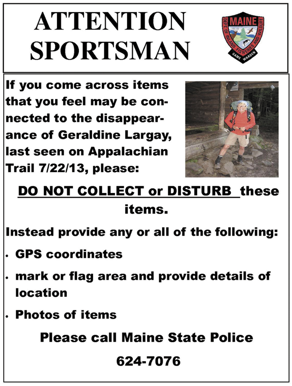 The poster the Maine Warden Service is distributing to seek additional information about missing Applachian Trail hiker Geraldine Largay.